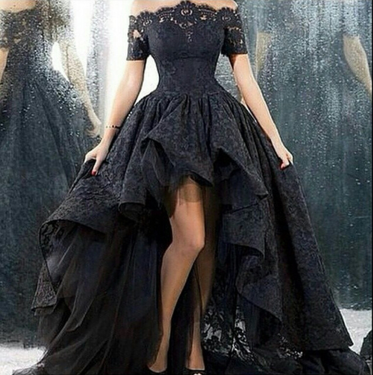 Black Prom Dress, Lace Prom Dress, Elegant Prom Dress, High Low Prom ...