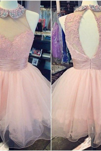 short homecoming dress, tulle homecoming dress, pink homecoming dress, junior prom dress, party dress for girls,lace bridesmaid dress,beads prom dress
